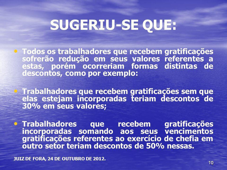 10 SUGERIU-SE QUE: Todos os trabalhadores que recebem gratificações sofrerão redução em seus valores referentes a estas, porém ocorreriam formas disti
