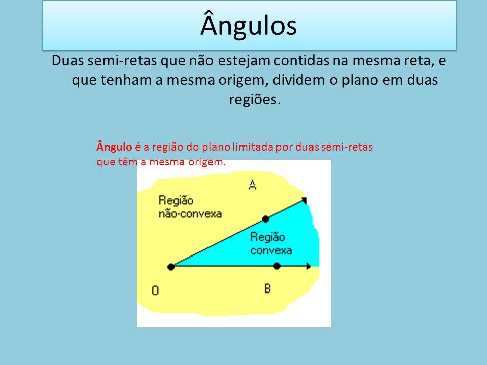 Duas semi-retas que não estejam contidas na mesma reta, e que tenham a mesma origem, dividem o plano em duas regiões. Ângulo é a região do plano limit