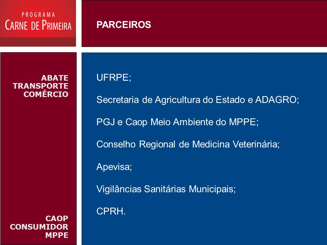 ABATE TRANSPORTE COMÉRCIO CAOP CONSUMIDOR MPPE UFRPE; Secretaria de Agricultura do Estado e ADAGRO; PGJ e Caop Meio Ambiente do MPPE; Conselho Regiona