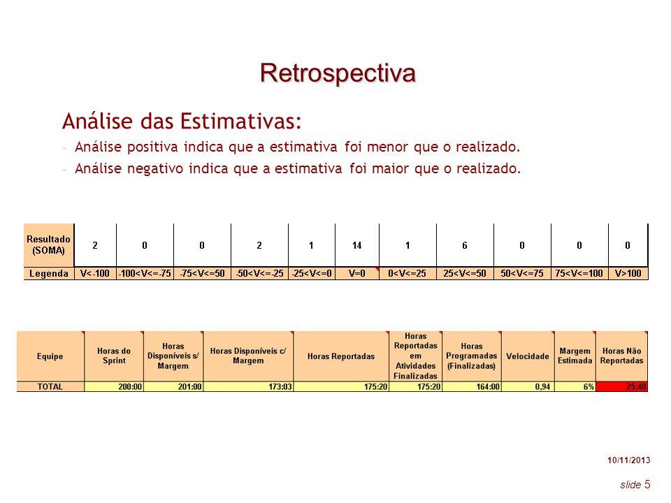 10/11/2013 slide 5 Retrospectiva Análise das Estimativas: - Análise positiva indica que a estimativa foi menor que o realizado. - Análise negativo ind