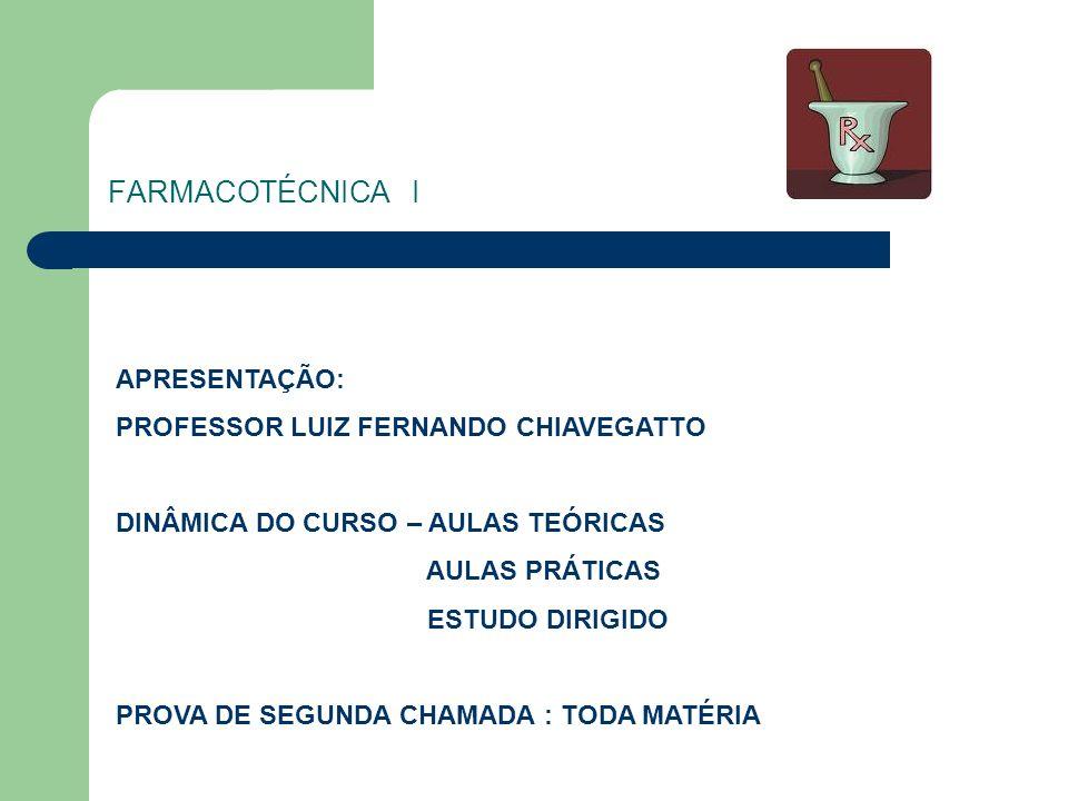 FARMACOTÉCNICA I APRESENTAÇÃO: PROFESSOR LUIZ FERNANDO CHIAVEGATTO DINÂMICA DO CURSO – AULAS TEÓRICAS AULAS PRÁTICAS ESTUDO DIRIGIDO PROVA DE SEGUNDA