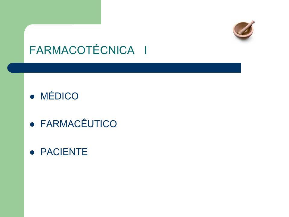 FARMACOTÉCNICA I MÉDICO FARMACÊUTICO PACIENTE