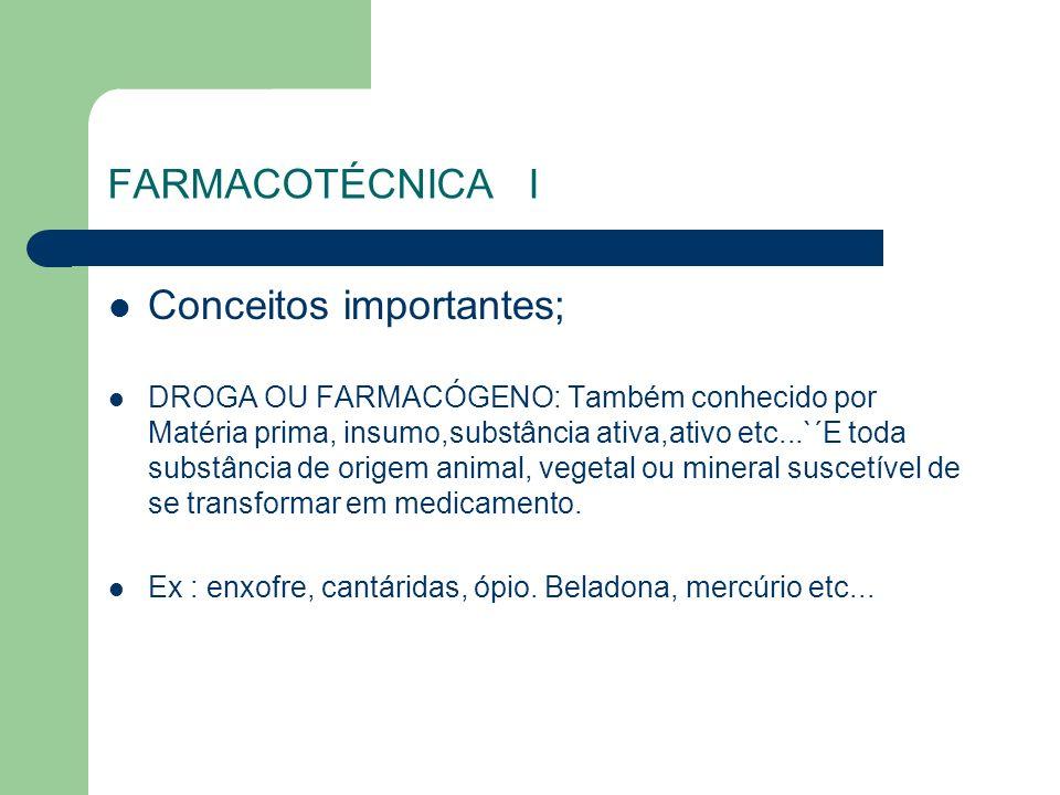 FARMACOTÉCNICA I Conceitos importantes; DROGA OU FARMACÓGENO: Também conhecido por Matéria prima, insumo,substância ativa,ativo etc...`´E toda substân