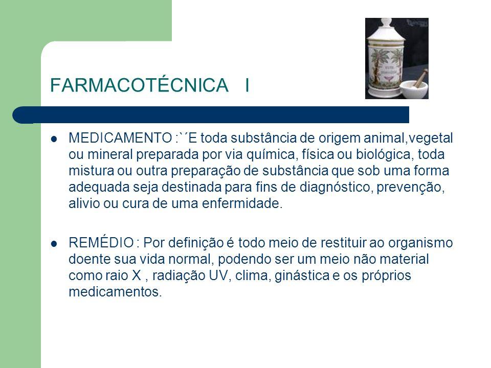 FARMACOTÉCNICA I MEDICAMENTO :`´E toda substância de origem animal,vegetal ou mineral preparada por via química, física ou biológica, toda mistura ou
