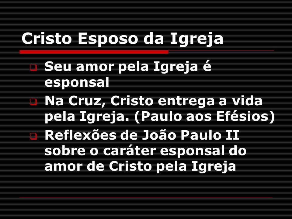 Cristo Esposo da Igreja Seu amor pela Igreja é esponsal Na Cruz, Cristo entrega a vida pela Igreja. (Paulo aos Efésios) Reflexões de João Paulo II sob