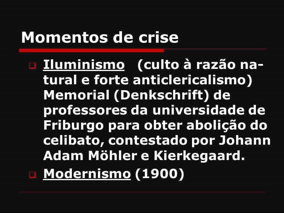 Momentos de crise Iluminismo (culto à razão na- tural e forte anticlericalismo) Memorial (Denkschrift) de professores da universidade de Friburgo para