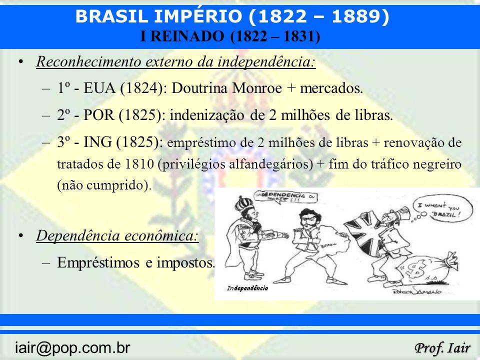 BRASIL IMPÉRIO (1822 – 1889) Prof. Iair iair@pop.com.br I REINADO (1822 – 1831) Reconhecimento externo da independência: –1º - EUA (1824): Doutrina Mo