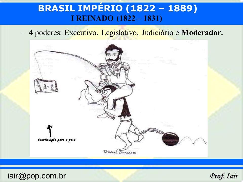 BRASIL IMPÉRIO (1822 – 1889) Prof. Iair iair@pop.com.br I REINADO (1822 – 1831) –4 poderes: Executivo, Legislativo, Judiciário e Moderador.