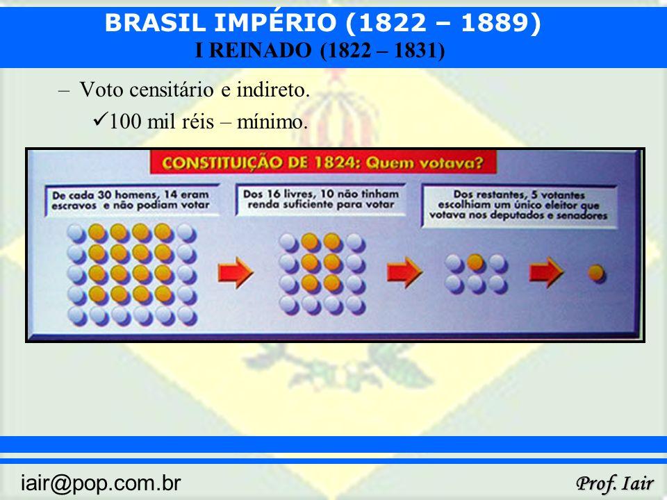 BRASIL IMPÉRIO (1822 – 1889) Prof. Iair iair@pop.com.br I REINADO (1822 – 1831) –Voto censitário e indireto. 100 mil réis – mínimo.