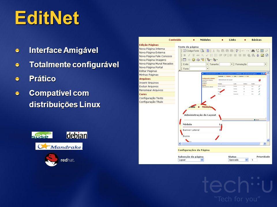 EditNet Interface Amigável Totalmente configurável Prático Compatível com distribuições Linux