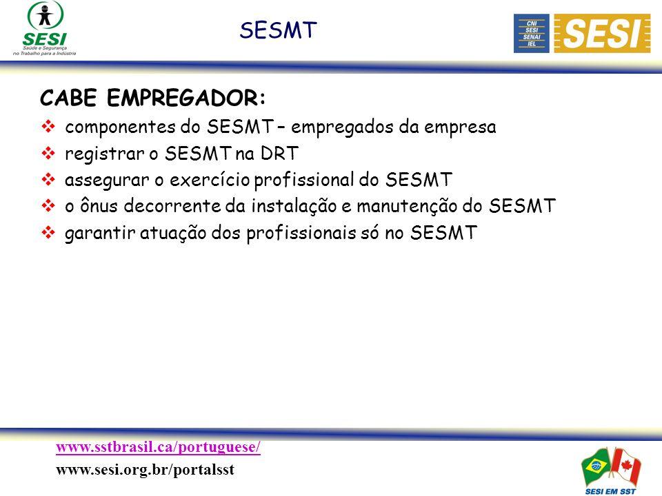 www.sstbrasil.ca/portuguese/ www.sesi.org.br/portalsst CABE EMPREGADOR: componentes do SESMT – empregados da empresa registrar o SESMT na DRT assegurar o exercício profissional do SESMT o ônus decorrente da instalação e manutenção do SESMT garantir atuação dos profissionais só no SESMT SESMT