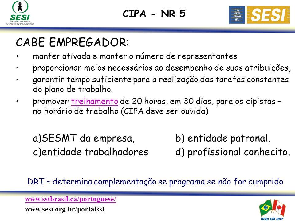 www.sstbrasil.ca/portuguese/ www.sesi.org.br/portalsst CABE EMPREGADOR: manter ativada e manter o número de representantes proporcionar meios necessários ao desempenho de suas atribuições, garantir tempo suficiente para a realização das tarefas constantes do plano de trabalho.