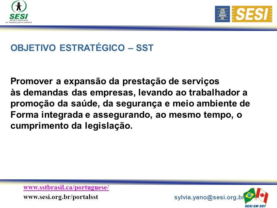 www.sstbrasil.ca/portuguese/ www.sesi.org.br/portalsst sylvia.yano@sesi.org.br OBJETIVO ESTRATÉGICO – SST Promover a expansão da prestação de serviços às demandas das empresas, levando ao trabalhador a promoção da saúde, da segurança e meio ambiente de Forma integrada e assegurando, ao mesmo tempo, o cumprimento da legislação.