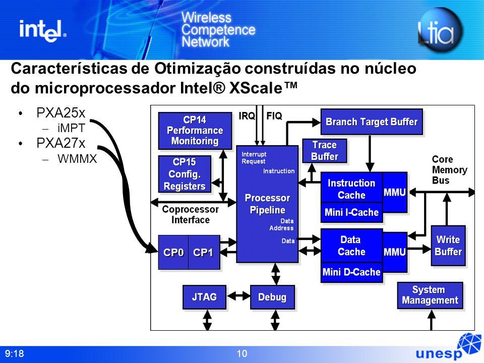 9:18 10 Características de Otimização construídas no núcleo do microprocessador Intel® XScale PXA25x – iMPT PXA27x – WMMX CP0 CP1