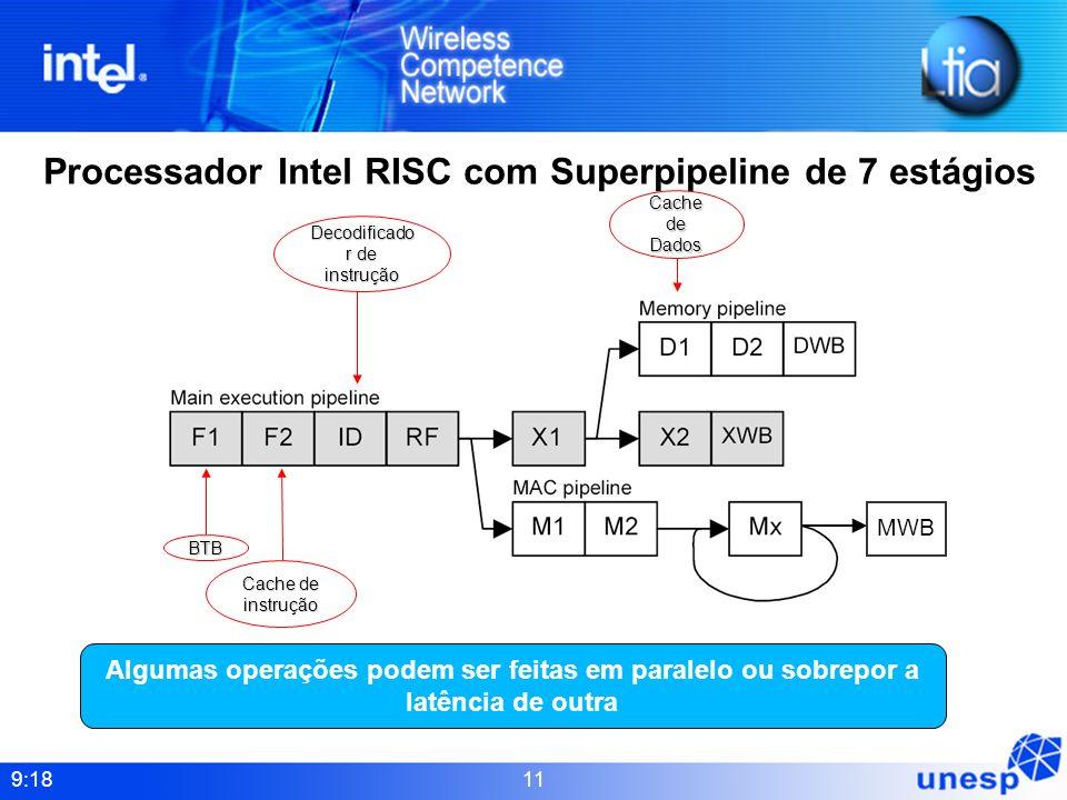 9:18 11 Processador Intel RISC com Superpipeline de 7 estágios Algumas operações podem ser feitas em paralelo ou sobrepor a latência de outra Decodifi