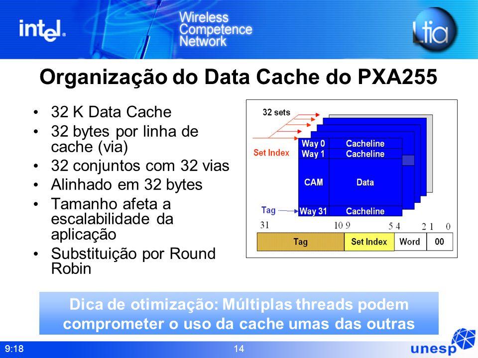 9:18 14 Organização do Data Cache do PXA255 32 K Data Cache 32 bytes por linha de cache (via) 32 conjuntos com 32 vias Alinhado em 32 bytes Tamanho af