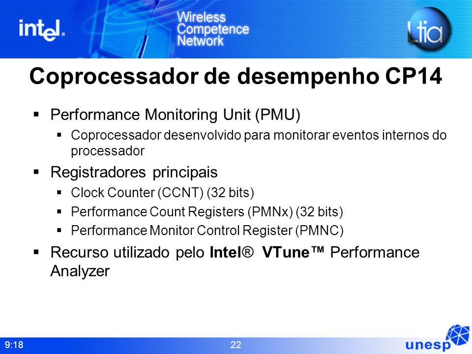 9:18 22 Coprocessador de desempenho CP14 Performance Monitoring Unit (PMU) Coprocessador desenvolvido para monitorar eventos internos do processador R