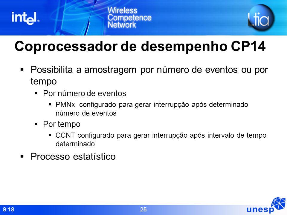 9:18 25 Coprocessador de desempenho CP14 Possibilita a amostragem por número de eventos ou por tempo Por número de eventos PMNx configurado para gerar