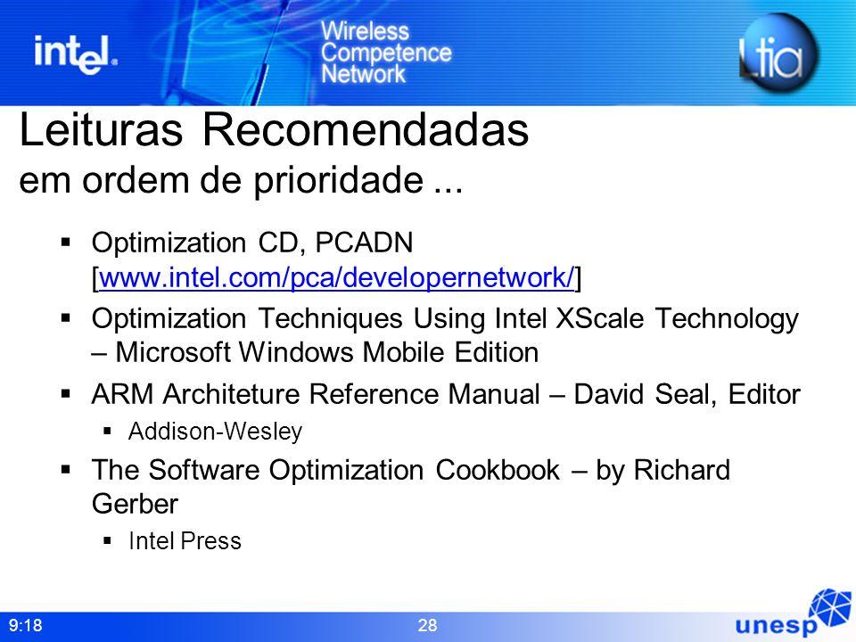 9:18 28 Leituras Recomendadas em ordem de prioridade... Optimization CD, PCADN [www.intel.com/pca/developernetwork/]www.intel.com/pca/developernetwork
