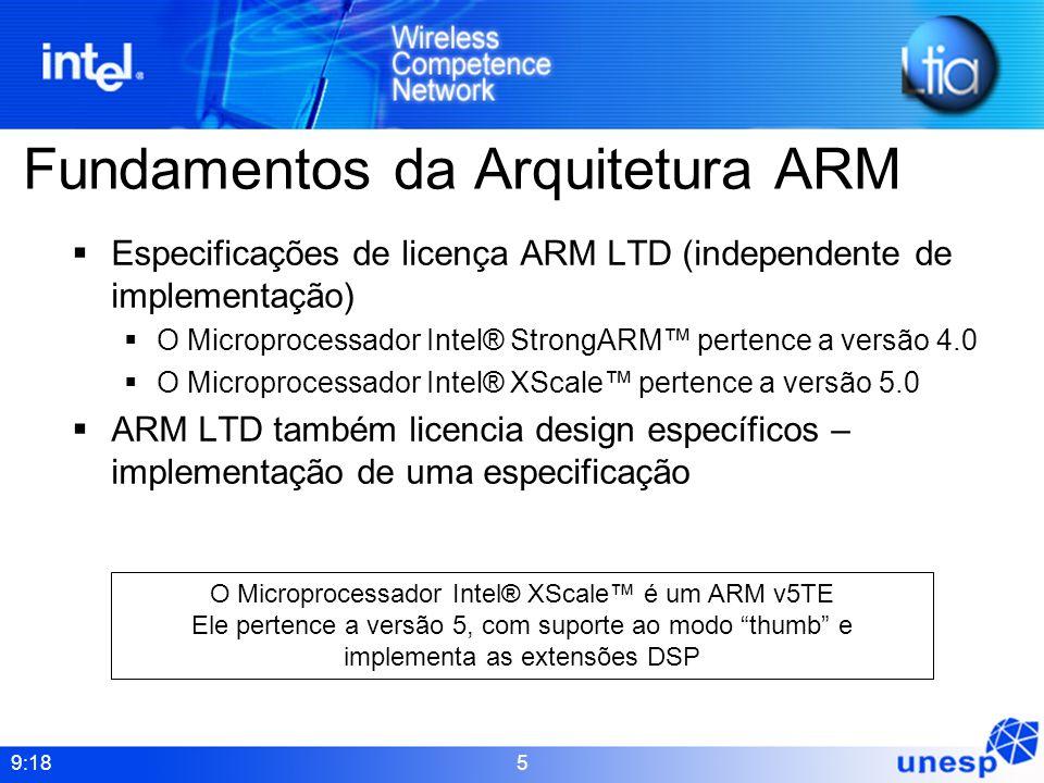 9:18 5 Fundamentos da Arquitetura ARM Especificações de licença ARM LTD (independente de implementação) O Microprocessador Intel® StrongARM pertence a