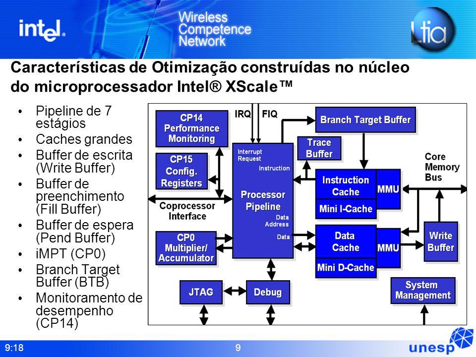 9:18 9 Características de Otimização construídas no núcleo do microprocessador Intel® XScale Pipeline de 7 estágios Caches grandes Buffer de escrita (