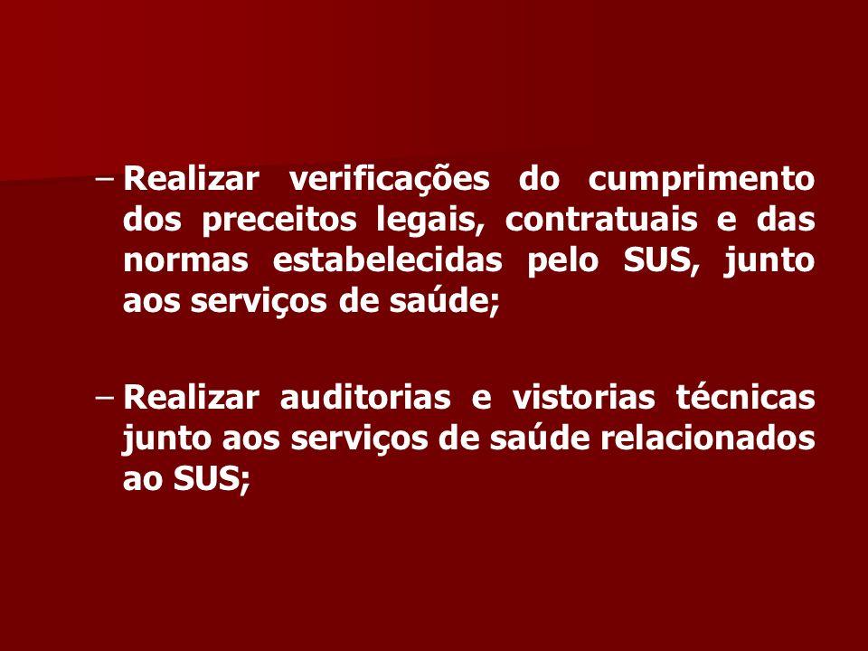 – –Realizar verificações do cumprimento dos preceitos legais, contratuais e das normas estabelecidas pelo SUS, junto aos serviços de saúde; – –Realizar auditorias e vistorias técnicas junto aos serviços de saúde relacionados ao SUS;
