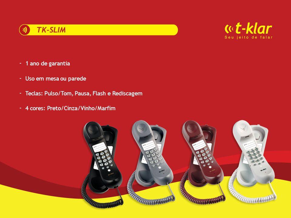 -------- 1 ano de garantia Uso em mesa ou parede Teclas: Pulso/Tom, Pausa, Flash e Rediscagem 4 cores: Preto/Cinza/Vinho/Marfim