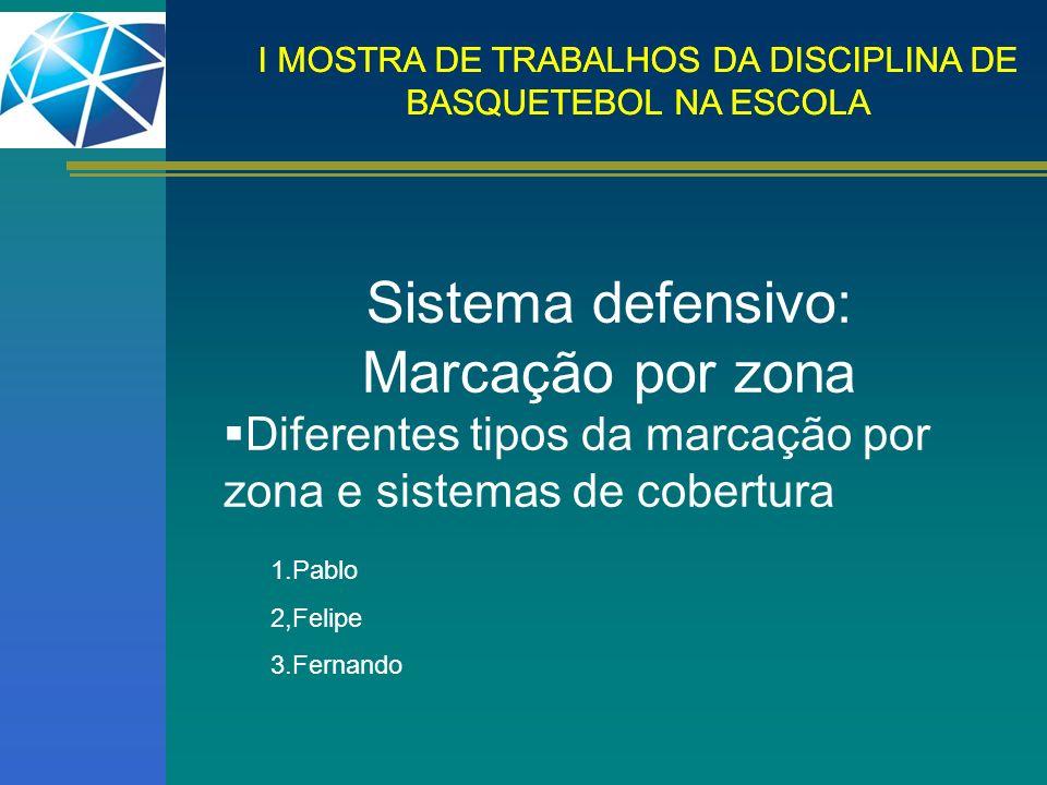 I MOSTRA DE TRABALHOS DA DISCIPLINA DE BASQUETEBOL NA ESCOLA Sistema defensivo: Marcação por zona Diferentes tipos da marcação por zona e sistemas de