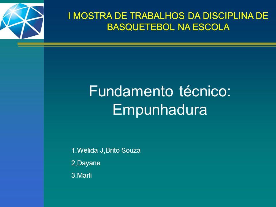 I MOSTRA DE TRABALHOS DA DISCIPLINA DE BASQUETEBOL NA ESCOLA Fundamento técnico: Drible Alto 1.Diego 2,Evandro 3.Lionai