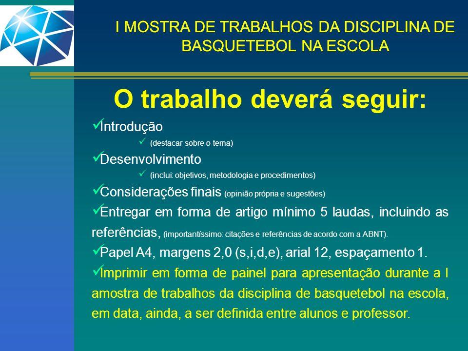 I MOSTRA DE TRABALHOS DA DISCIPLINA DE BASQUETEBOL NA ESCOLA O trabalho deverá seguir: Introdução (destacar sobre o tema) Desenvolvimento (inclui: obj