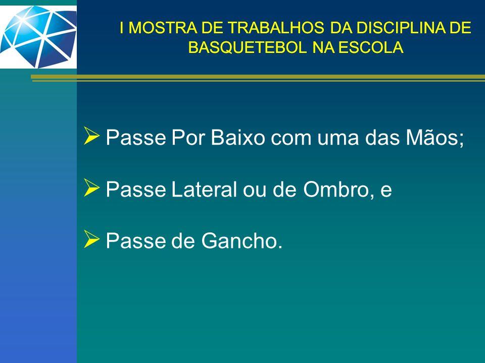 I MOSTRA DE TRABALHOS DA DISCIPLINA DE BASQUETEBOL NA ESCOLA Passe Por Baixo com uma das Mãos; Passe Lateral ou de Ombro, e Passe de Gancho.