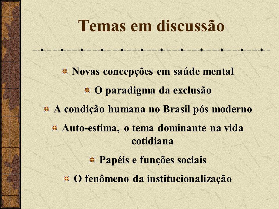 Temas em discussão Novas concepções em saúde mental O paradigma da exclusão A condição humana no Brasil pós moderno Auto-estima, o tema dominante na v