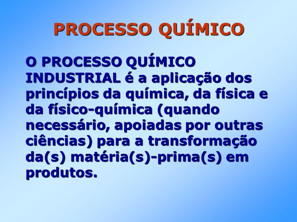 PROCESSO QUÍMICO O PROCESSO QUÍMICO INDUSTRIAL é a aplicação dos princípios da química, da física e da físico-química (quando necessário, apoiadas por outras ciências) para a transformação da(s) matéria(s)-prima(s) em produtos.