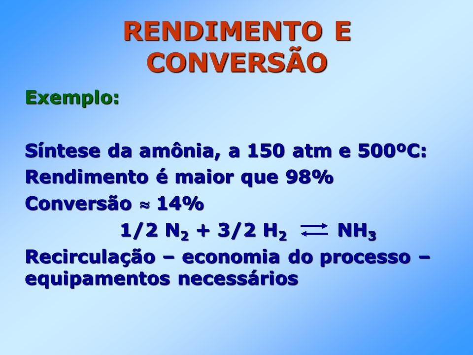 RENDIMENTO E CONVERSÃO Exemplo: Síntese da amônia, a 150 atm e 500ºC: Rendimento é maior que 98% Conversão 14% 1/2 N 2 + 3/2 H 2 NH 3 1/2 N 2 + 3/2 H 2 NH 3 Recirculação – economia do processo – equipamentos necessários