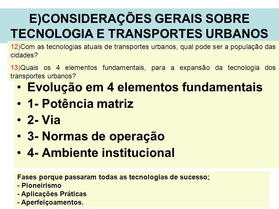 11 E)CONSIDERAÇÕES GERAIS SOBRE TECNOLOGIA E TRANSPORTES URBANOS Evolução em 4 elementos fundamentais 1- Potência matriz 2- Via 3- Normas de operação