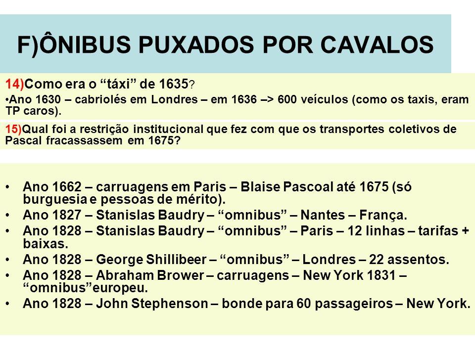 12 F)ÔNIBUS PUXADOS POR CAVALOS Ano 1662 – carruagens em Paris – Blaise Pascoal até 1675 (só burguesia e pessoas de mérito). Ano 1827 – Stanislas Baud