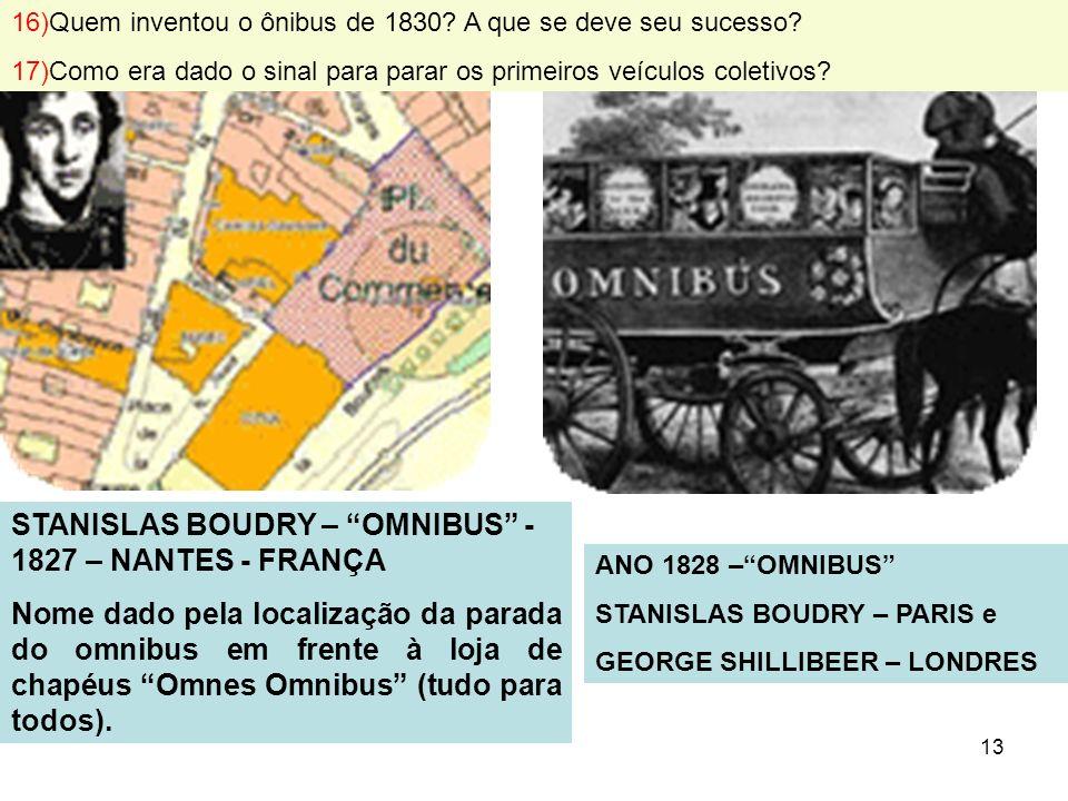 13 STANISLAS BOUDRY – OMNIBUS - 1827 – NANTES - FRANÇA Nome dado pela localização da parada do omnibus em frente à loja de chapéus Omnes Omnibus (tudo