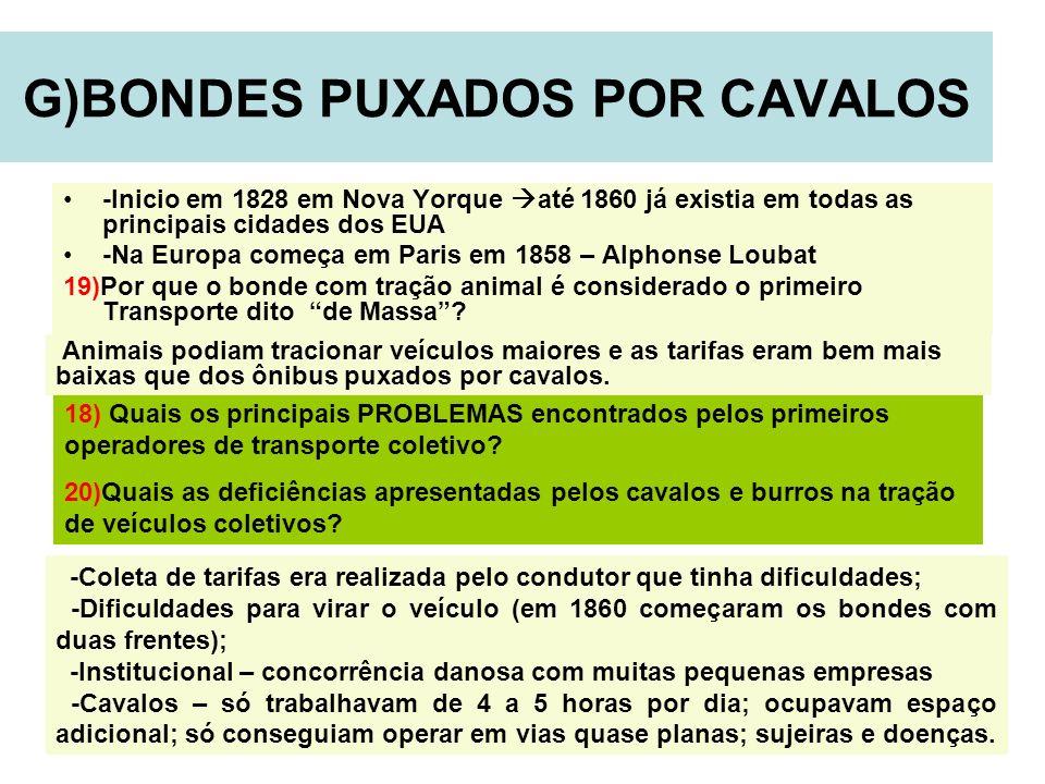 15 G)BONDES PUXADOS POR CAVALOS -Inicio em 1828 em Nova Yorque até 1860 já existia em todas as principais cidades dos EUA -Na Europa começa em Paris e
