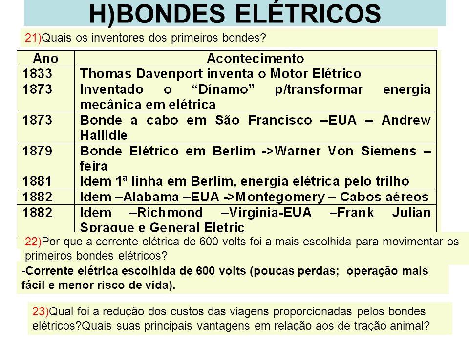 18 H)BONDES ELÉTRICOS -Corrente elétrica escolhida de 600 volts (poucas perdas; operação mais fácil e menor risco de vida). 21)Quais os inventores dos