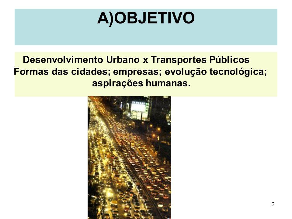 2 A)OBJETIVO Desenvolvimento Urbano x Transportes Públicos Formas das cidades; empresas; evolução tecnológica; aspirações humanas.
