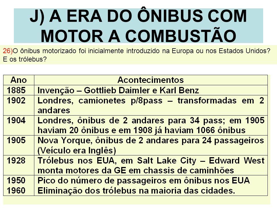 22 J) A ERA DO ÔNIBUS COM MOTOR A COMBUSTÃO 26)O ônibus motorizado foi inicialmente introduzido na Europa ou nos Estados Unidos? E os trólebus?