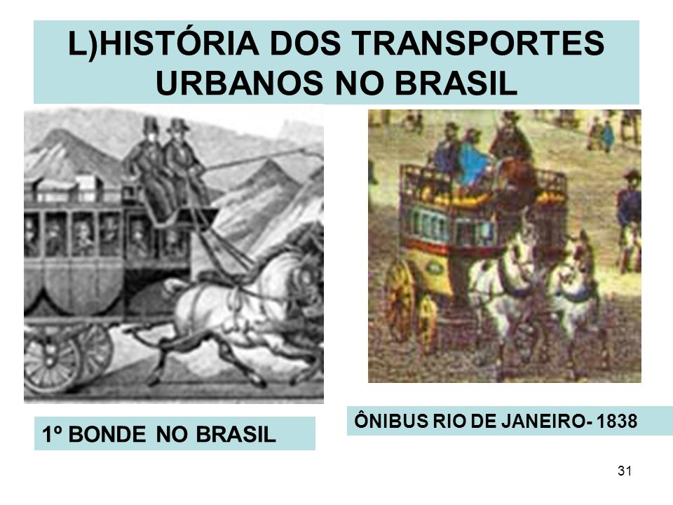 31 L)HISTÓRIA DOS TRANSPORTES URBANOS NO BRASIL 1º BONDE NO BRASIL ÔNIBUS RIO DE JANEIRO- 1838