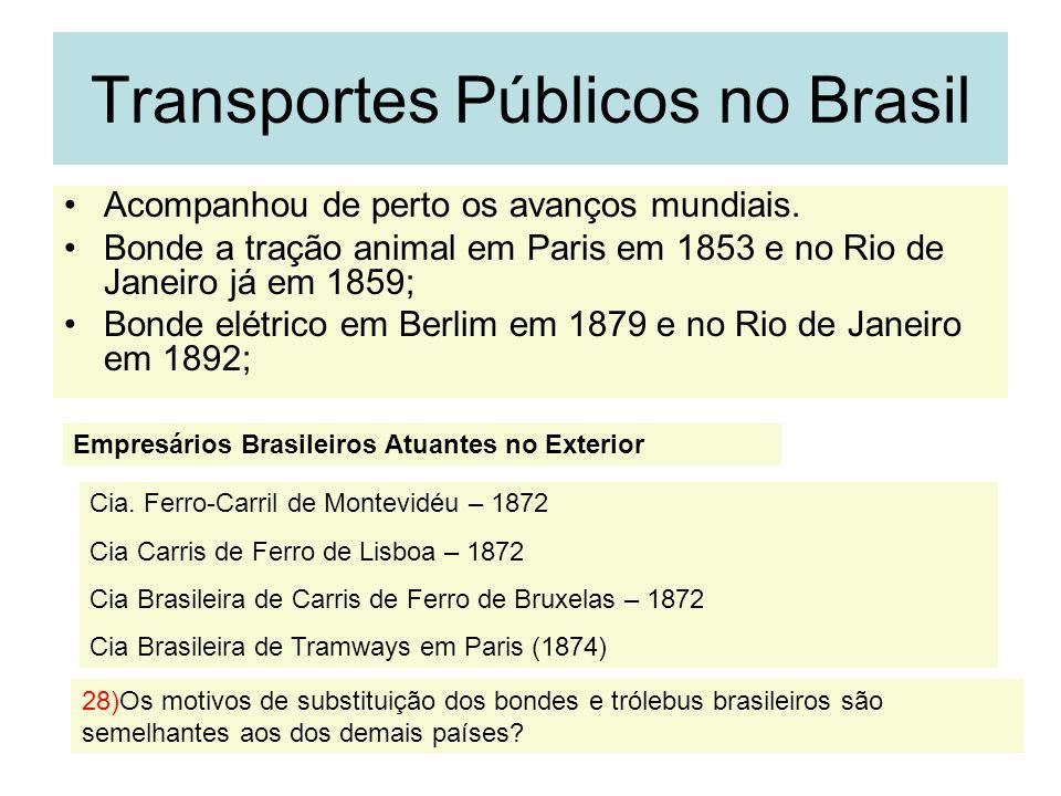 32 Transportes Públicos no Brasil Acompanhou de perto os avanços mundiais. Bonde a tração animal em Paris em 1853 e no Rio de Janeiro já em 1859; Bond