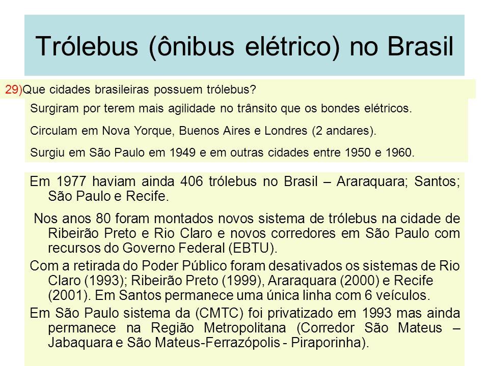 33 Trólebus (ônibus elétrico) no Brasil Em 1977 haviam ainda 406 trólebus no Brasil – Araraquara; Santos; São Paulo e Recife. Nos anos 80 foram montad