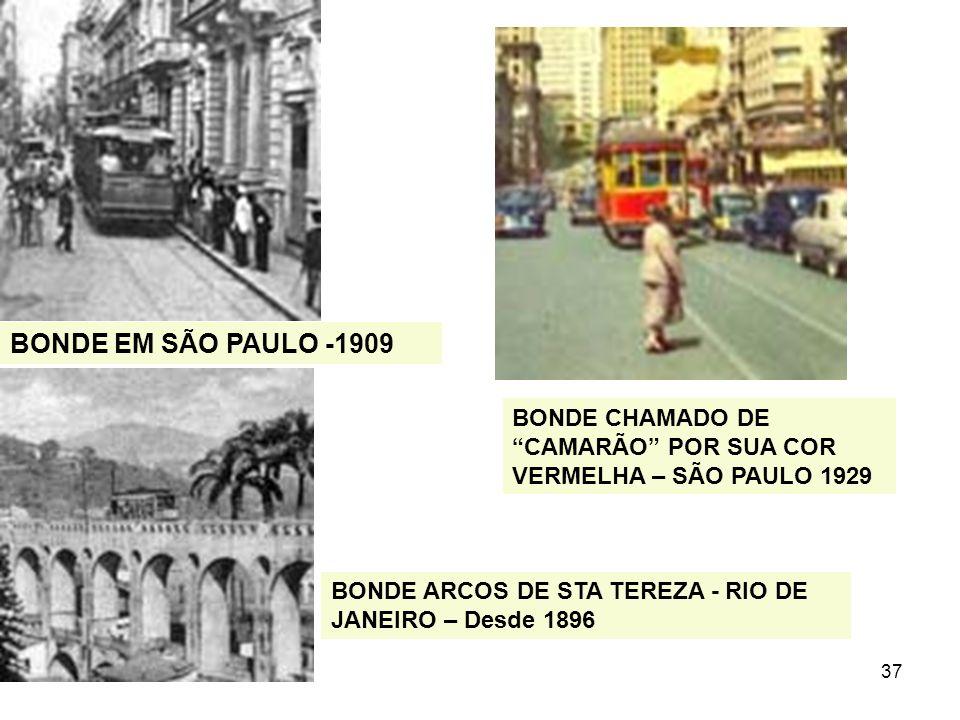 37 BONDE EM SÃO PAULO -1909 BONDE CHAMADO DE CAMARÃO POR SUA COR VERMELHA – SÃO PAULO 1929 BONDE ARCOS DE STA TEREZA - RIO DE JANEIRO – Desde 1896