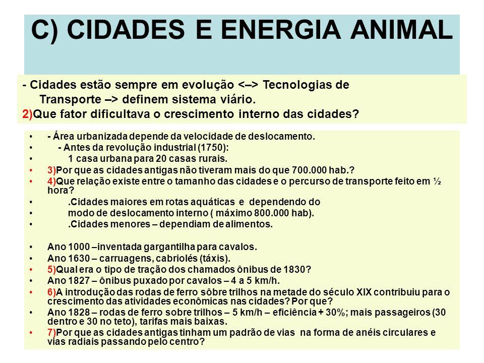 4 C) CIDADES E ENERGIA ANIMAL - Área urbanizada depende da velocidade de deslocamento. - Antes da revolução industrial (1750): 1 casa urbana para 20 c