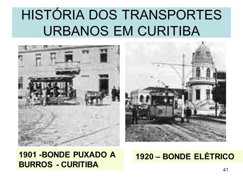 41 HISTÓRIA DOS TRANSPORTES URBANOS EM CURITIBA 1901 -BONDE PUXADO A BURROS - CURITIBA 1920 – BONDE ELÉTRICO