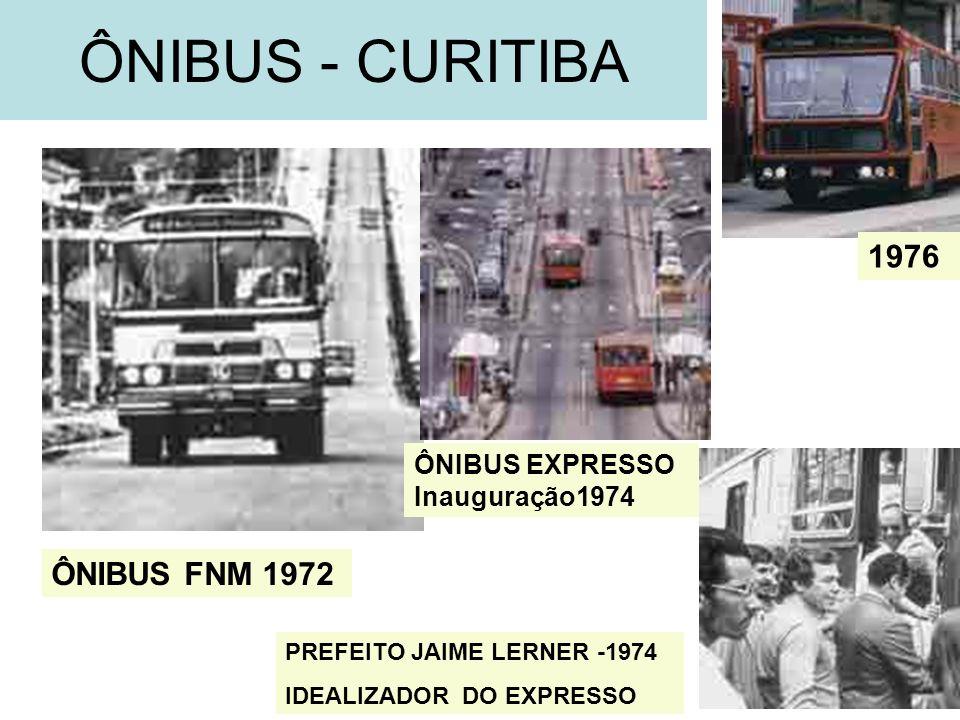 43 ÔNIBUS - CURITIBA ÔNIBUS FNM 1972 ÔNIBUS EXPRESSO Inauguração1974 1976 PREFEITO JAIME LERNER -1974 IDEALIZADOR DO EXPRESSO