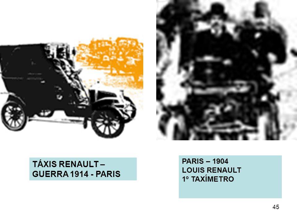 45 PARIS – 1904 LOUIS RENAULT 1º TAXÍMETRO TÁXIS RENAULT – GUERRA 1914 - PARIS