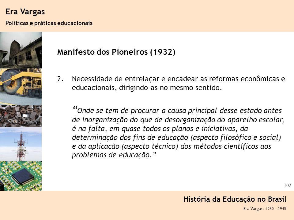 Ciência, Tecnologia e Educação no Brasil Hélio Henkin ( FCE / UFRGS ) 102 Era Vargas Políticas e práticas educacionais História da Educação no Brasil